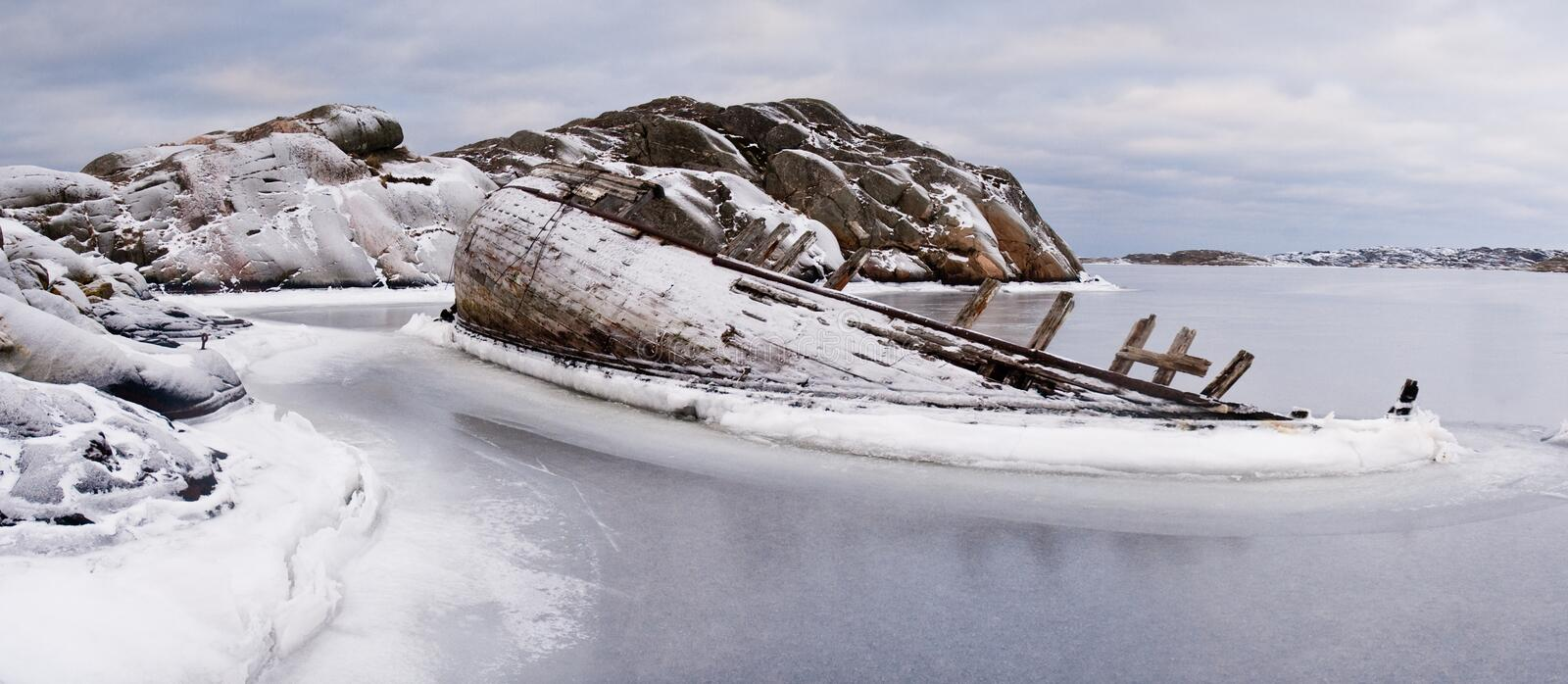 Ship-wreck in ice royalty free stock photography