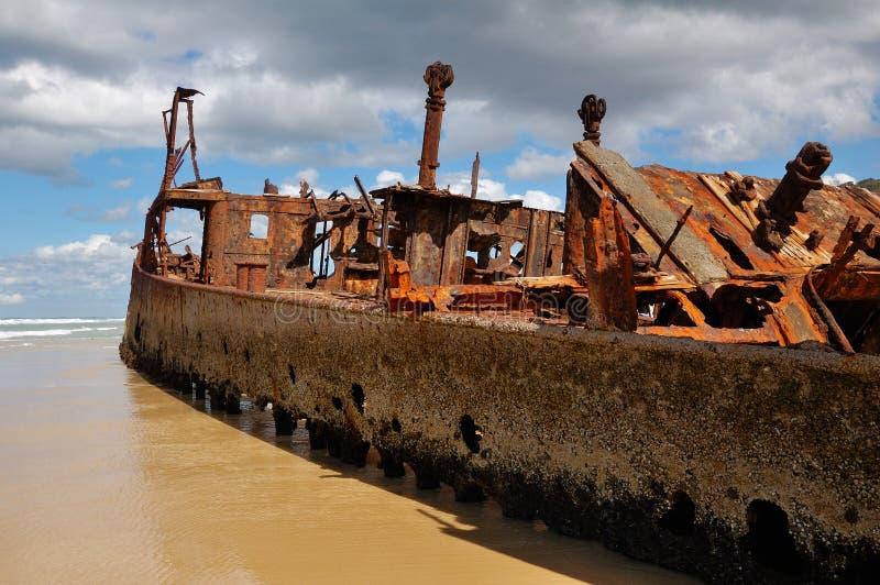 Ship Wreck of the Maheno on Fraser Island. A picture of the wreck of the ship the Maheno on Fraser Island in Queensland, Australia stock photos