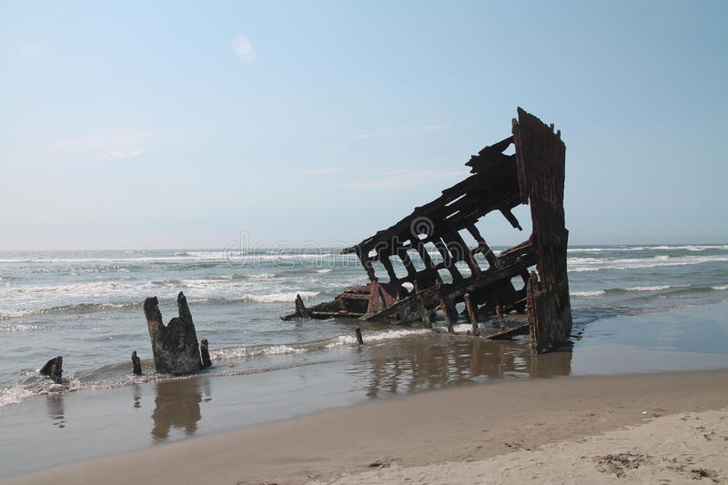 The Ship Wreck of the Peter Iredale. In Warrenton Oregon stock photography