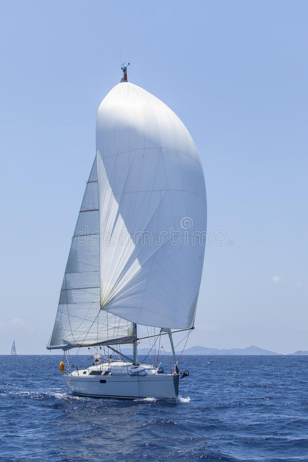 Ship Yachts With White Sails In The Open Sea  Luxury Boats