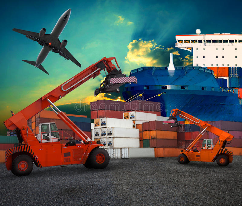 Ship yard logistic by land transport and air plane use for tran. Sportation industry business and port trading service industrial stock photos