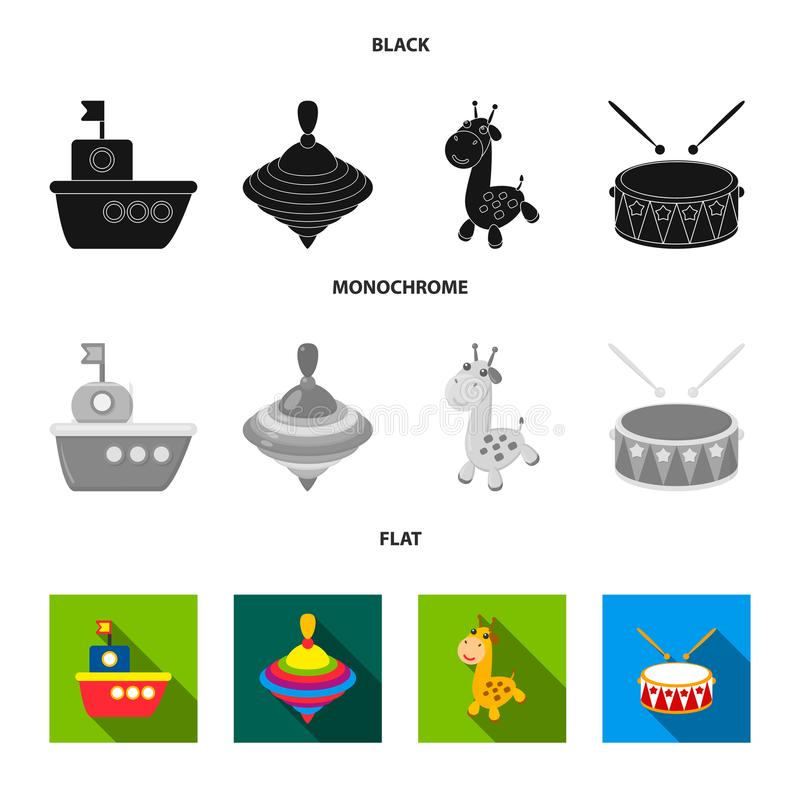 Ship, yule, giraffe, drum.Toys set collection icons in black, flat, monochrome style vector symbol stock illustration.  royalty free illustration