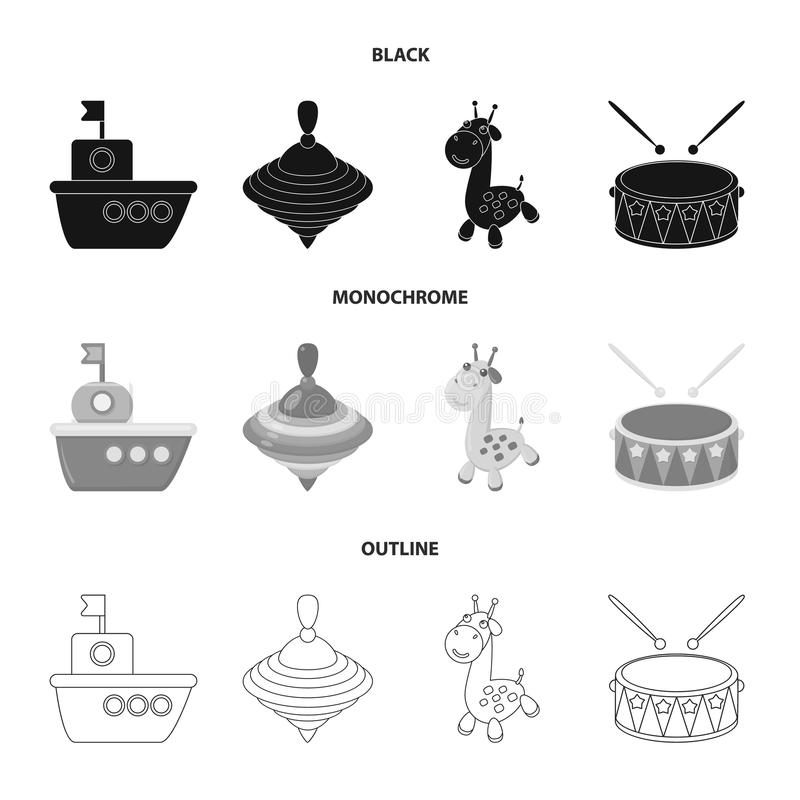 Ship, yule, giraffe, drum.Toys set collection icons in black,monochrome,outline style vector symbol stock illustration.  vector illustration