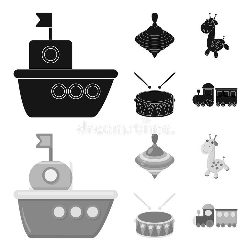 Ship, yule, giraffe, drum.Toys set collection icons in black,monochrome style vector symbol stock illustration web. Ship, yule, giraffe, drum.Toys set vector illustration