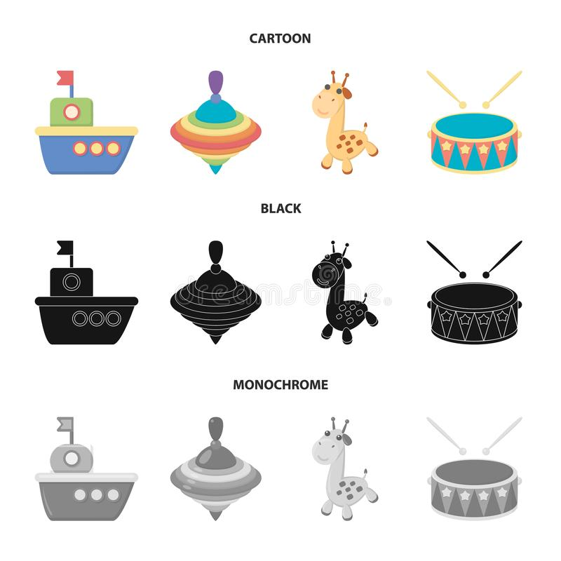 Ship, yule, giraffe, drum.Toys set collection icons in cartoon,black,monochrome style vector symbol stock illustration.  stock illustration