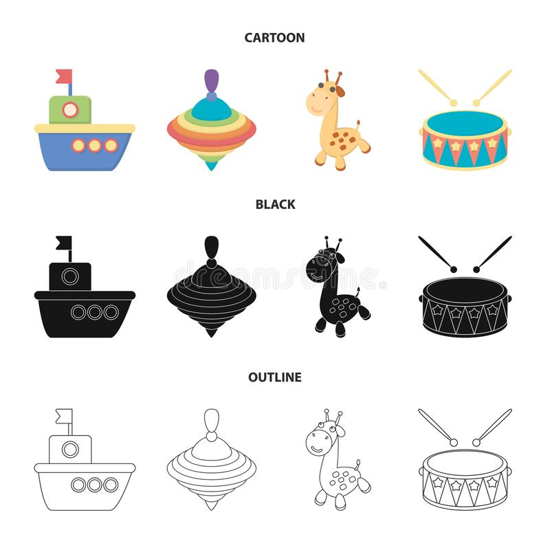 Ship, yule, giraffe, drum.Toys set collection icons in cartoon,black,outline style vector symbol stock illustration web. Ship, yule, giraffe, drum.Toys set royalty free illustration