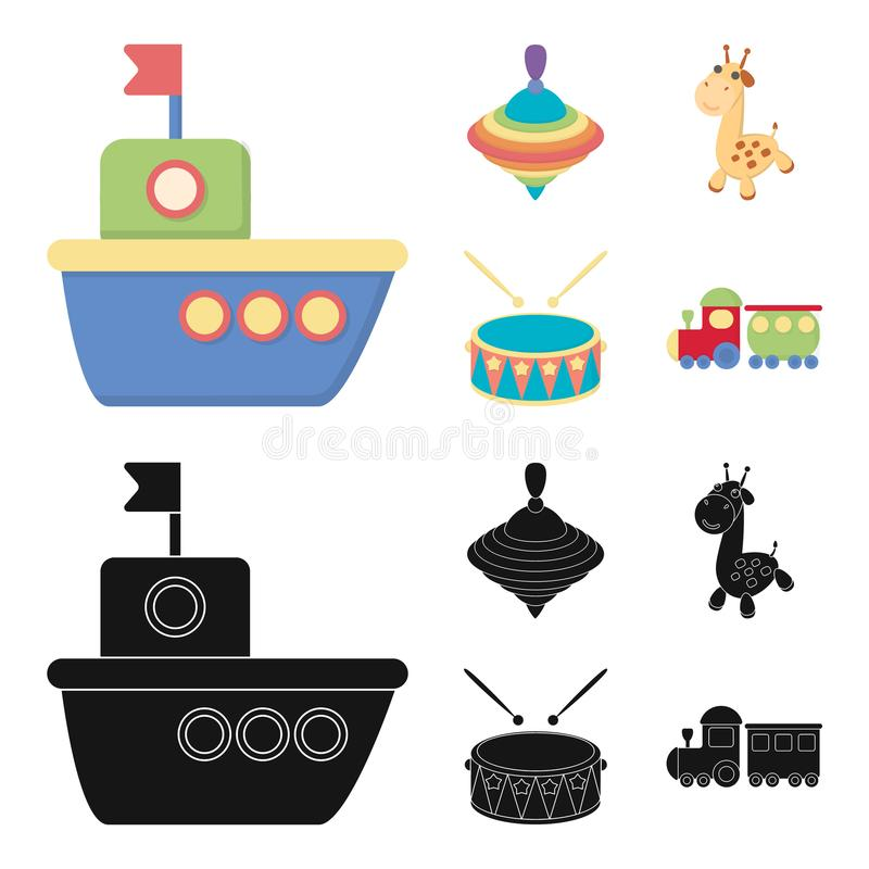 Ship, yule, giraffe, drum.Toys set collection icons in cartoon,black style vector symbol stock illustration web. Ship, yule, giraffe, drum.Toys set collection vector illustration