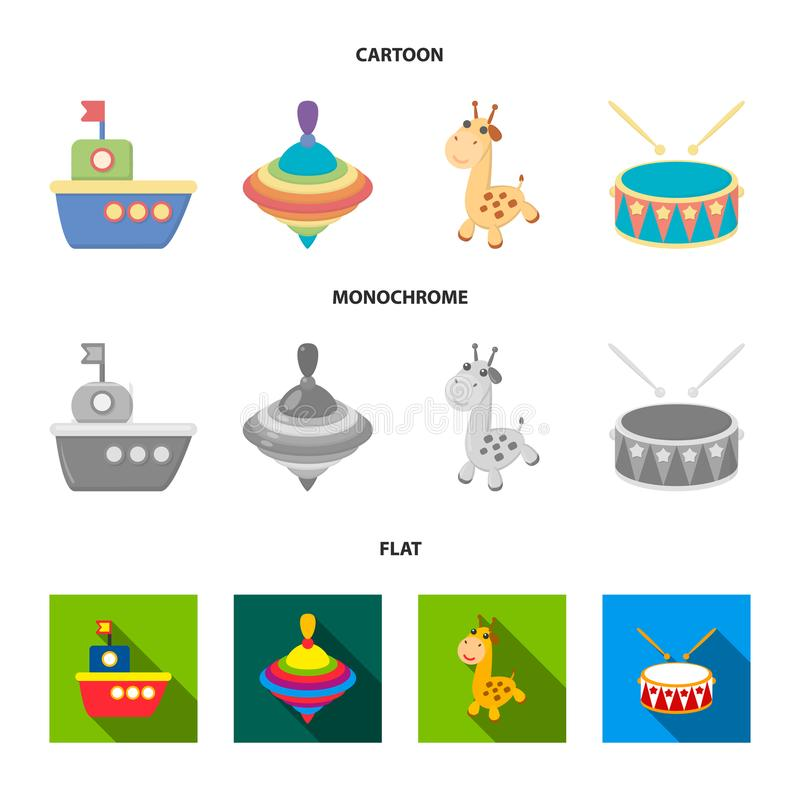 Ship, yule, giraffe, drum.Toys set collection icons in cartoon,flat,monochrome style vector symbol stock illustration.  stock illustration