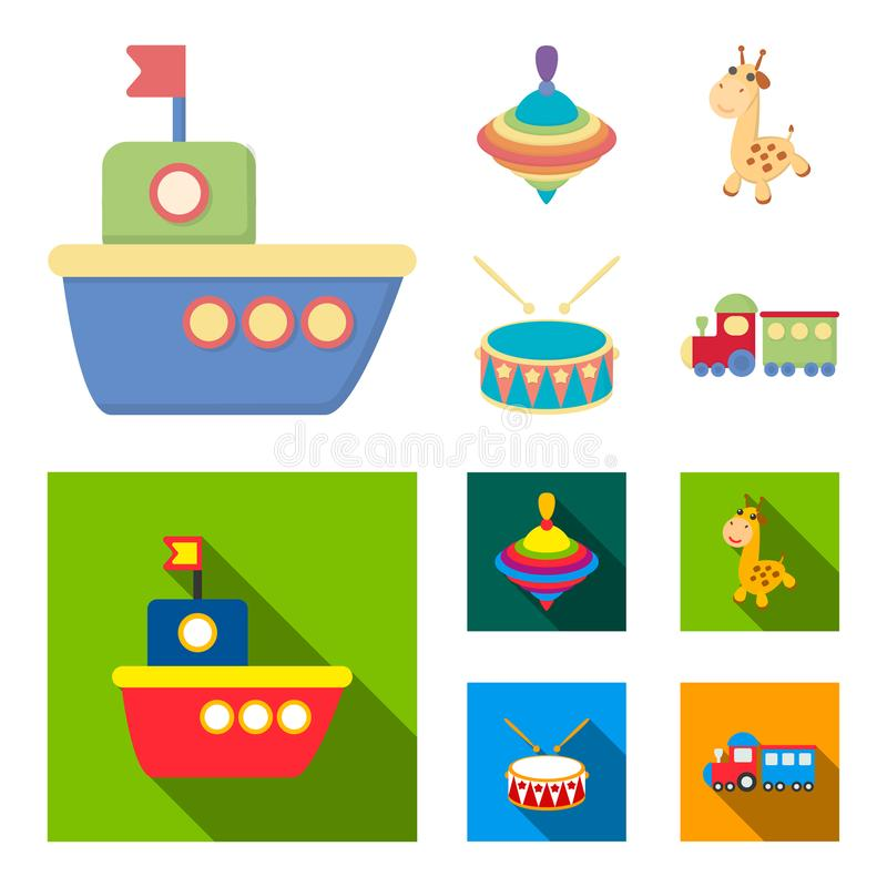 Ship, yule, giraffe, drum.Toys set collection icons in cartoon,flat style vector symbol stock illustration web. Ship, yule, giraffe, drum.Toys set collection vector illustration
