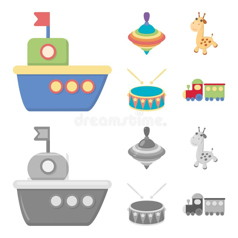 Ship, yule, giraffe, drum.Toys set collection icons in cartoon,monochrome style vector symbol stock illustration web. Ship, yule, giraffe, drum.Toys set vector illustration