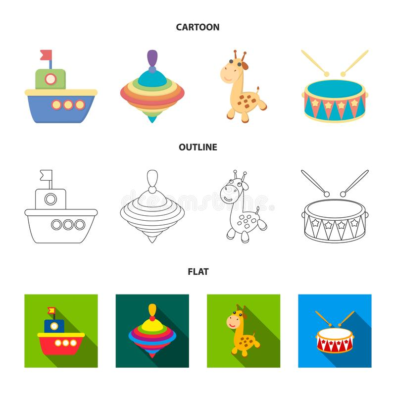 Ship, yule, giraffe, drum.Toys set collection icons in cartoon,outline,flat style vector symbol stock illustration web. Ship, yule, giraffe, drum.Toys set vector illustration
