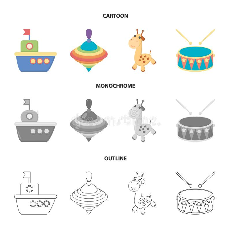 Ship, yule, giraffe, drum.Toys set collection icons in cartoon,outline,monochrome style vector symbol stock illustration.  stock illustration