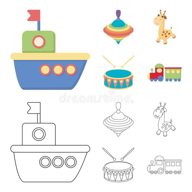 Ship, yule, giraffe, drum.Toys set collection icons in cartoon,outline style vector symbol stock illustration web. Ship, yule, giraffe, drum.Toys set collection royalty free illustration