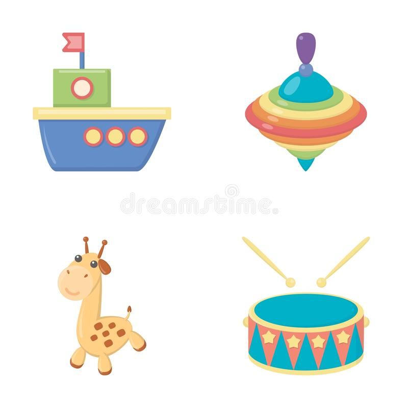 Ship, yule, giraffe, drum.Toys set collection icons in cartoon style vector symbol stock illustration web. Ship, yule, giraffe, drum.Toys set collection icons vector illustration