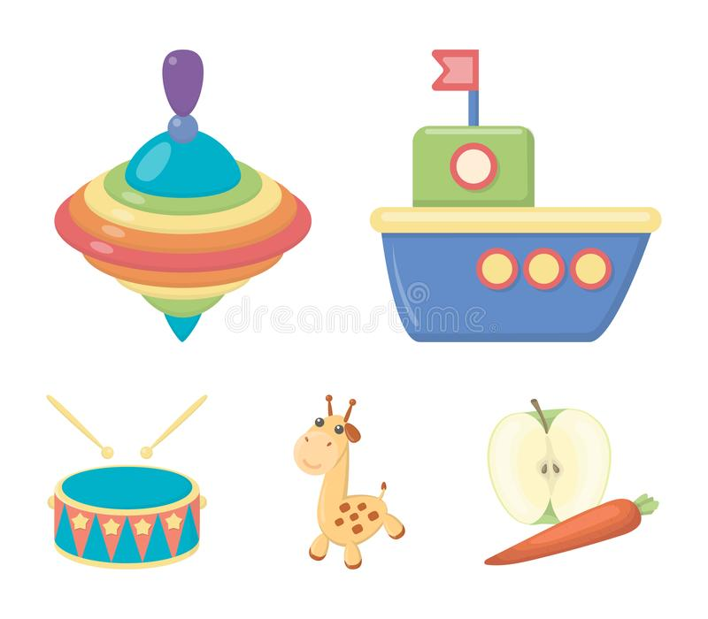 Ship, yule, giraffe, drum.Toys set collection icons in cartoon style vector symbol stock illustration web. Ship, yule, giraffe, drum.Toys set collection icons stock illustration
