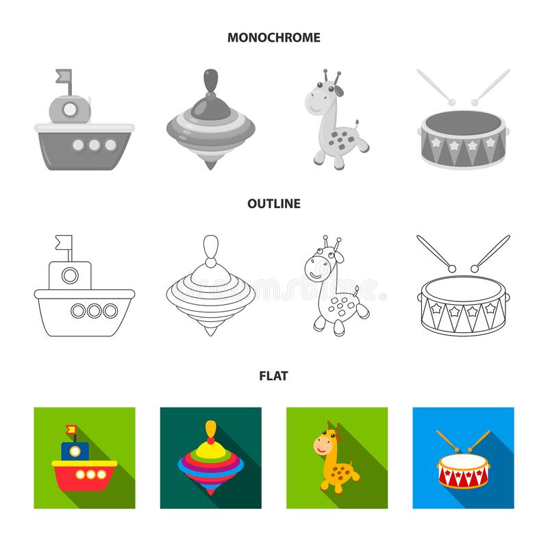 Ship, yule, giraffe, drum.Toys set collection icons in flat,outline,monochrome style vector symbol stock illustration.  stock illustration