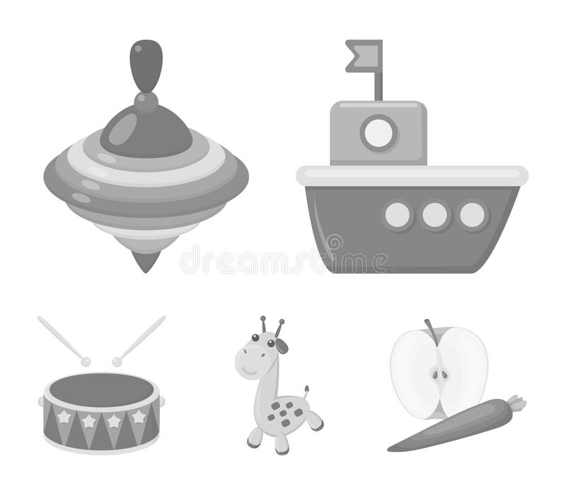 Ship, yule, giraffe, drum.Toys set collection icons in monochrome style vector symbol stock illustration web. Ship, yule, giraffe, drum.Toys set collection royalty free illustration