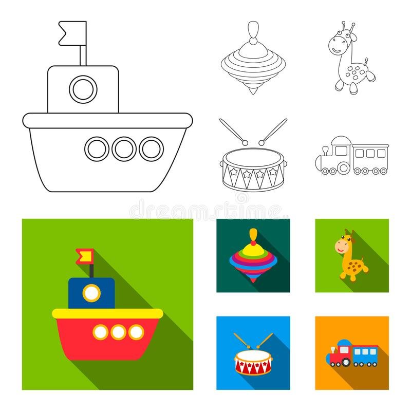 Ship, yule, giraffe, drum.Toys set collection icons in outline,flat style vector symbol stock illustration web. Ship, yule, giraffe, drum.Toys set collection stock illustration