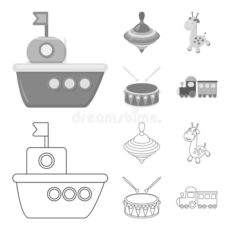 Ship, yule, giraffe, drum.Toys set collection icons in outline,monochrome style vector symbol stock illustration web. Ship, yule, giraffe, drum.Toys set vector illustration
