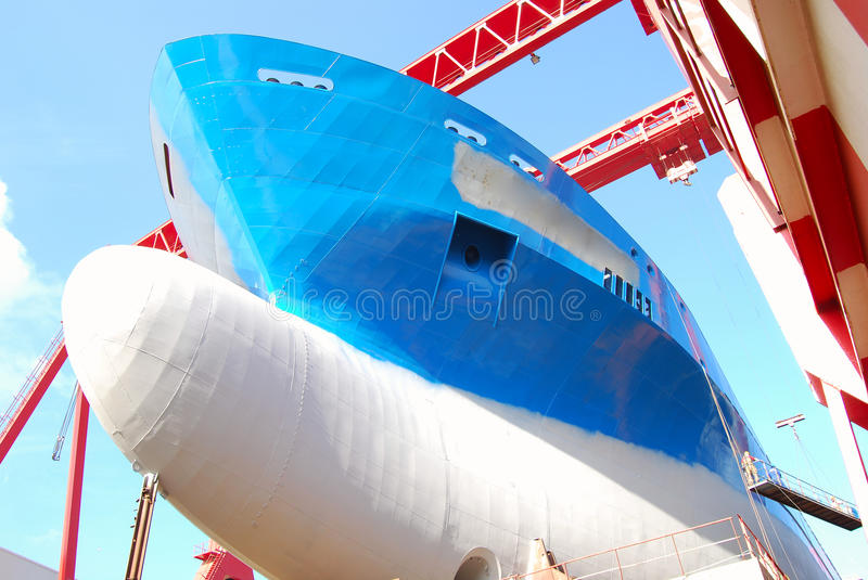 Shipbuilding. New to the largest dry bulk carrier stock image