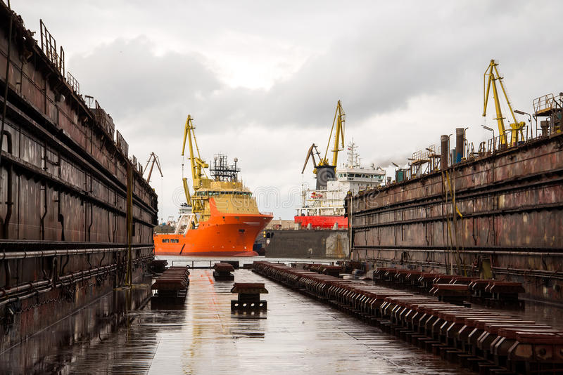 Shipbuilding dock royalty free stock photo