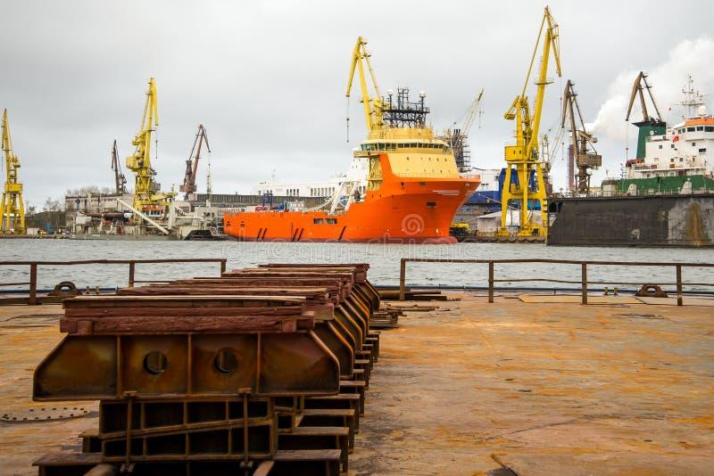 Shipbuilding dock stock photo
