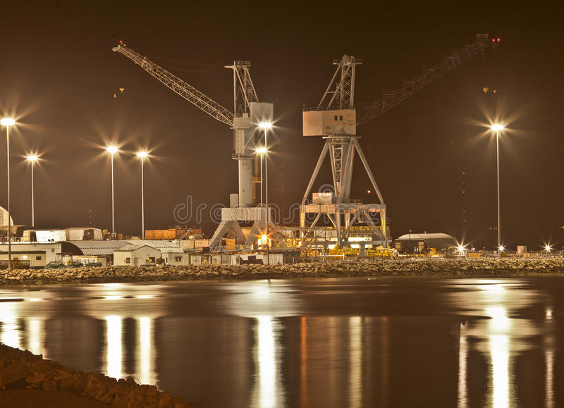 Shipbuilding at Night, Newport News, Virginia royalty free stock photos