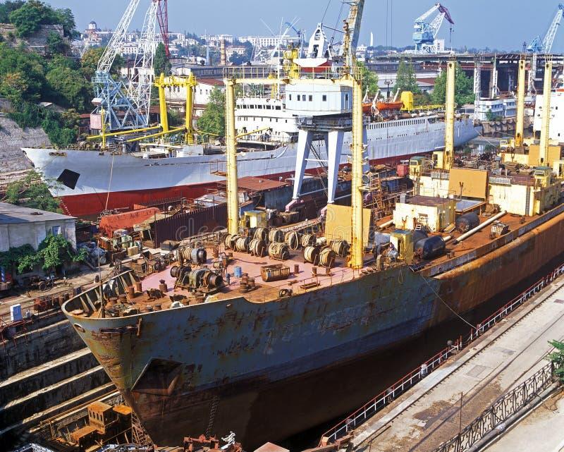 Shipbuilding, ship repair stock photography