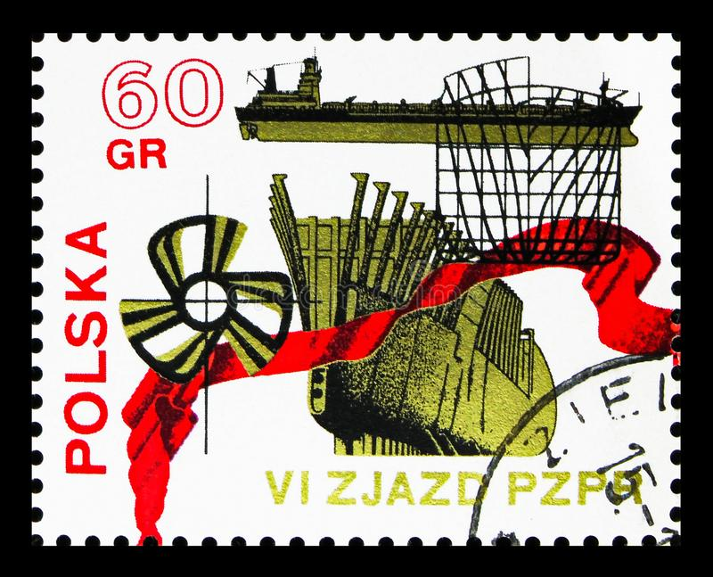 Shipbuilding, 6th Congress Of The Polish United Worker's Party serie, circa 1971. MOSCOW, RUSSIA - SEPTEMBER 15, 2018: A stamp printed in Poland shows vector illustration