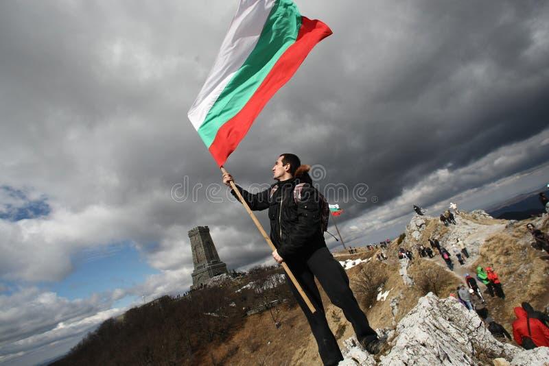 Shipka osiąga szczyt zabytek - symbol wyzwolenie Bułgaria Marzec 3 jest świętem państwowym Bułgaria zdjęcie stock