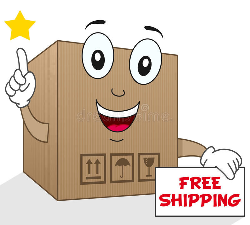 Shipment Cardboard Box Free Shipping. A happy cartoon delivery cardboard box character smiling and holding a free shipping sign, isolated on white background vector illustration