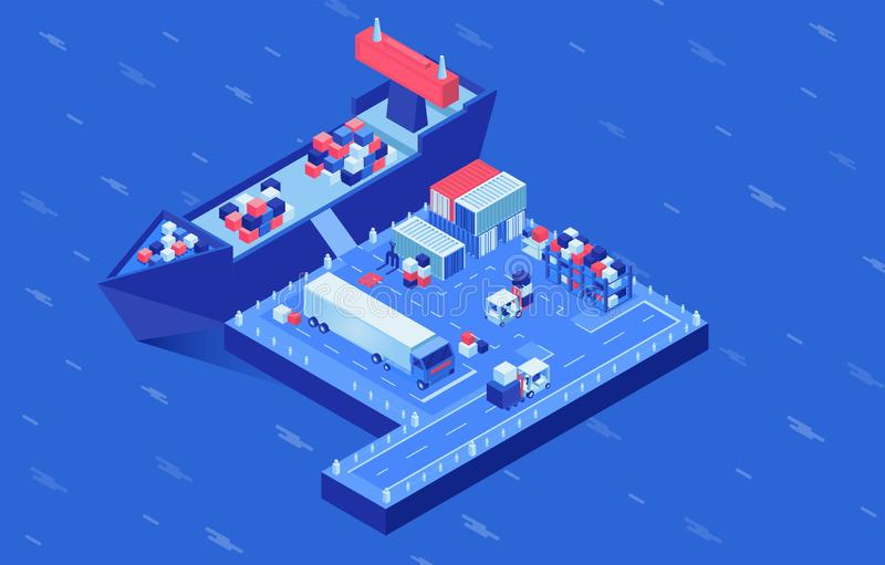 Shipment delivery isometric vector illustration. Industrial vessel loading in seaport, freight ships logistics hub vector illustration