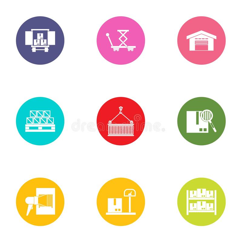 Shipment of goods icons set, flat style. Shipment of goods icons set. Flat set of 9 shipment of goods vector icons for web isolated on white background stock illustration