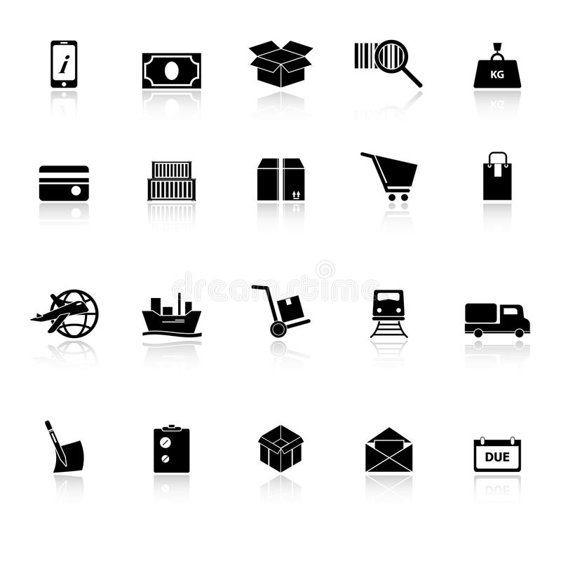 Download Shipment Icons With Reflect On White Background Stock Vector - Image: 38026926