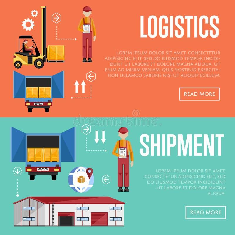 Shipment and logistic banners raster illustration. stock illustration
