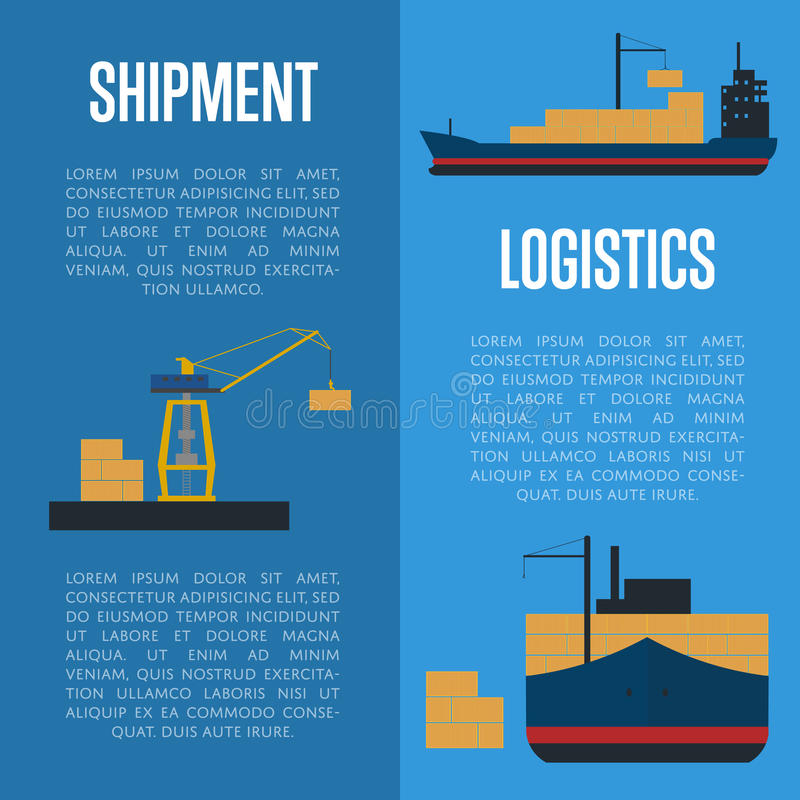Shipment and logistics banner set with cargo ship royalty free illustration