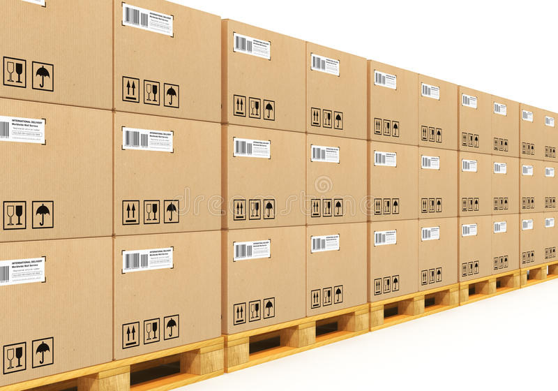 Stacked cardbaord boxes on shipping pallets. Shipment, logistics, delivery and product distribution business industrial concept: storage warehouse with row of royalty free illustration
