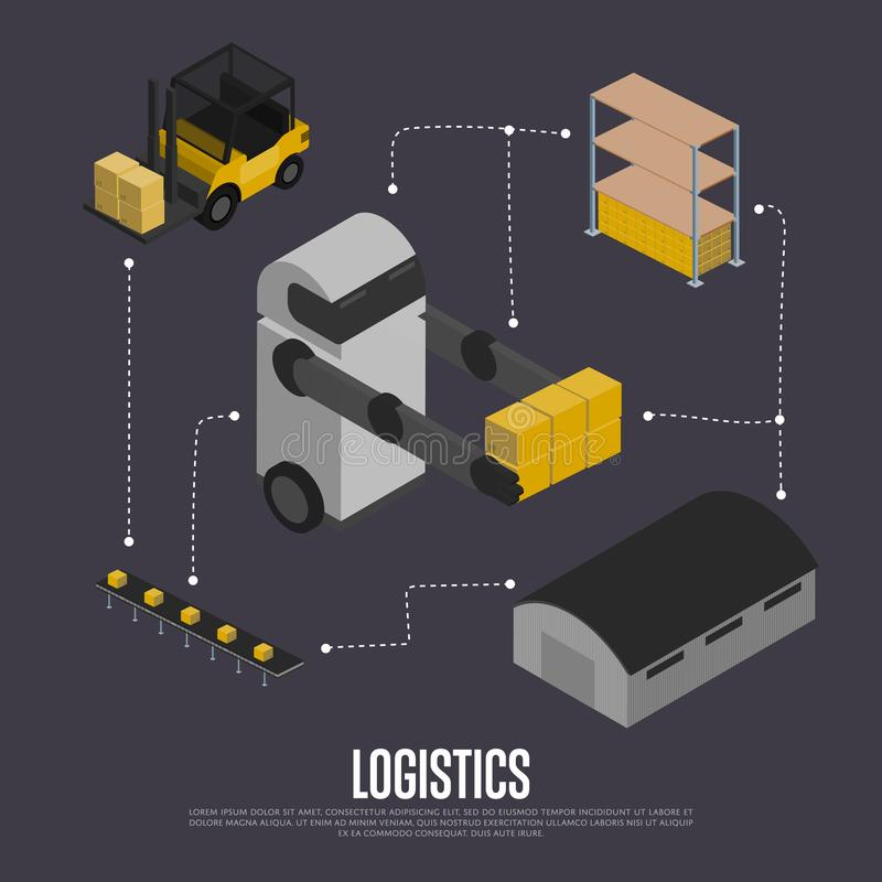 Shipment logistics isometric flowchart. Illustration. Automated warehouse with forklift truck and working robot. Freight automatic delivery, cargo royalty free illustration