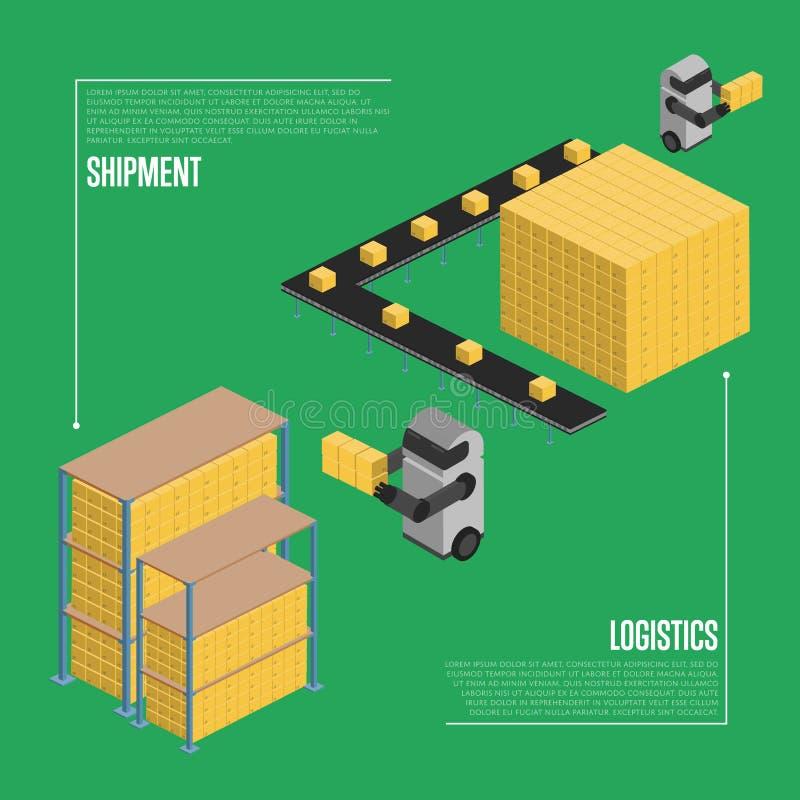 Shipment logistics isometric banner vector illustration