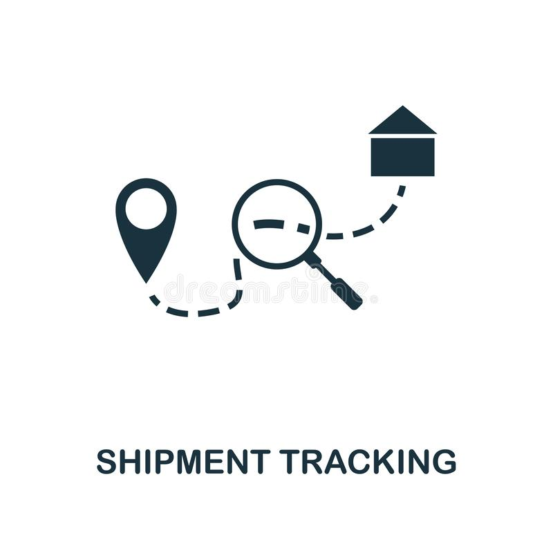 Shipment Tracking icon. Monochrome style design from logistics delivery icon collection. UI. Pixel perfect simple pictogram shipme royalty free illustration