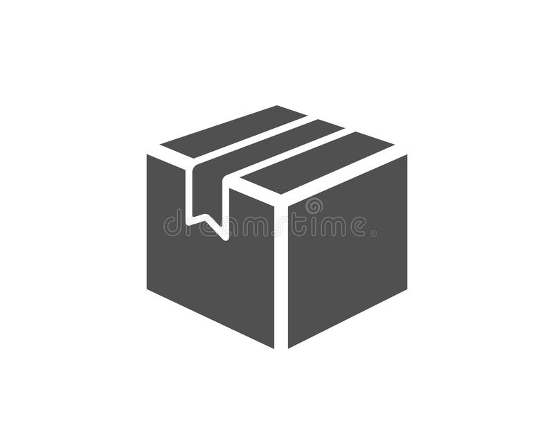 Shipping box simple icon. Logistics delivery sign. Parcels tracking symbol. Quality design elements. Classic style. Vector royalty free illustration