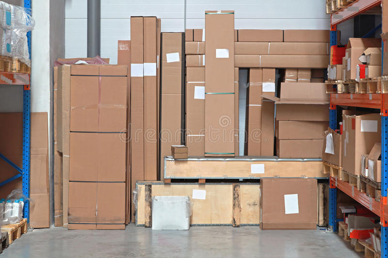 Shipping Boxes. Shipping Packages Boxes in Distribution Center Warehouse stock photography