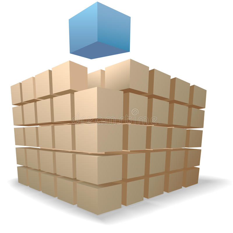 Shipping Boxes Puzzle abstract cube on stacks stock illustration