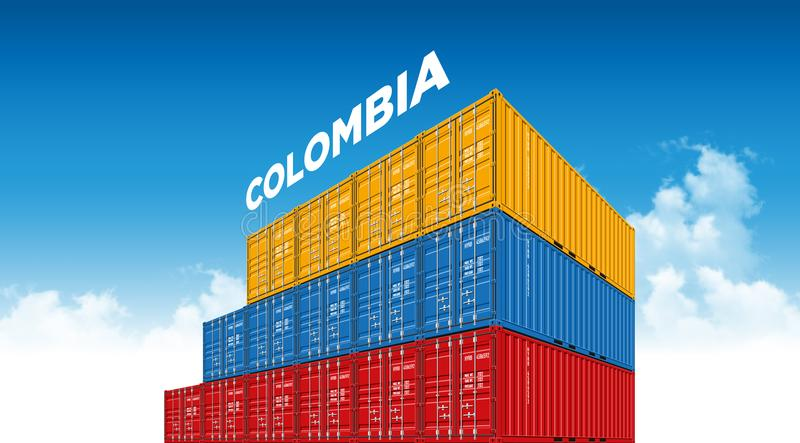 Shipping cargo container Colombia flag for logistics and transportation with clouds stock illustration
