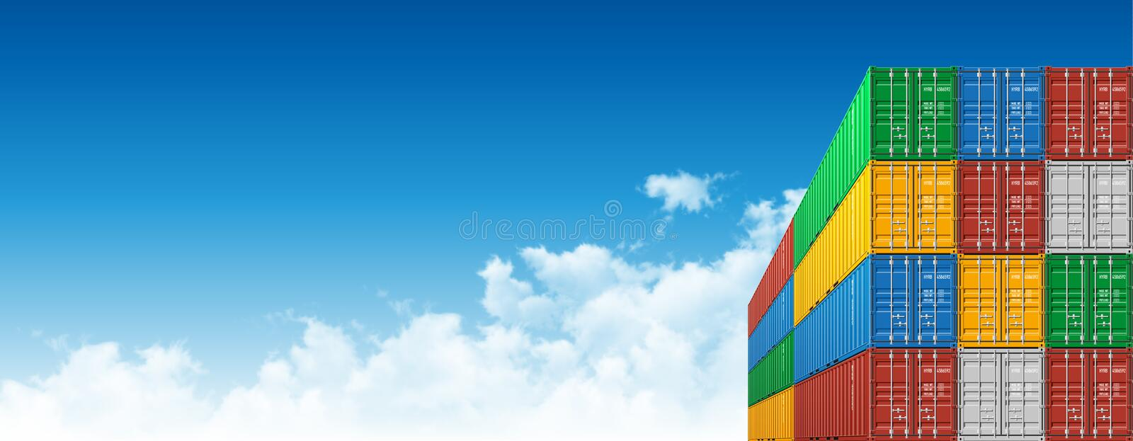 Shipping Cargo Containers for Logistics and Transportation. Colorful Shipping Cargo Containers for Logistics and Transportation. Perspective view vector illustration