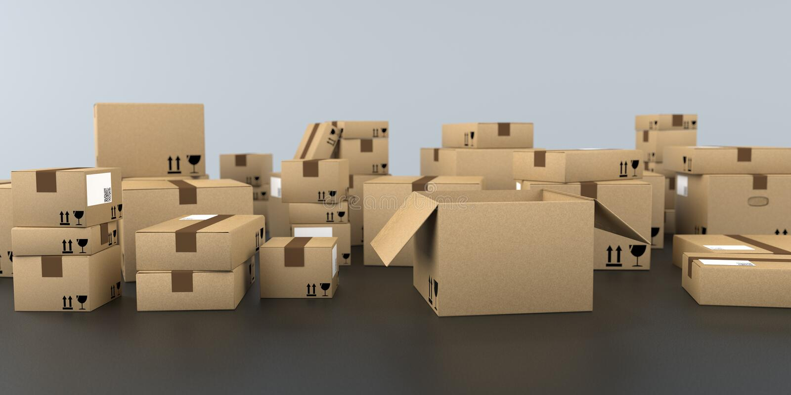 Shipping Cartons Black Background stock images