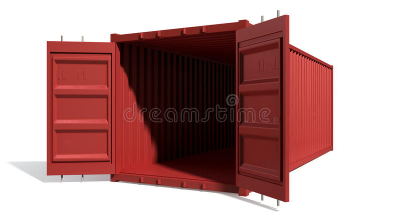 Shipping Container Red Open Empty stock illustration
