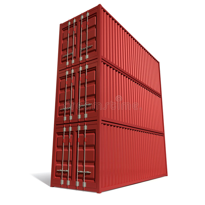 Shipping Container Red Stack stock illustration