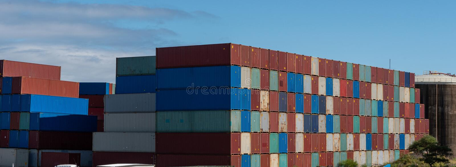 Shipping container storage yard on a sunny day stock images