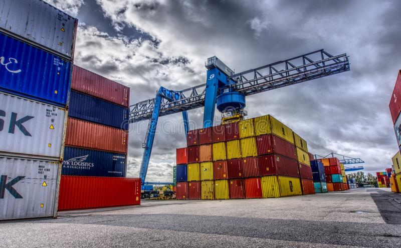 Shipping Container, Transport, Freight Transport, Sky stock photo